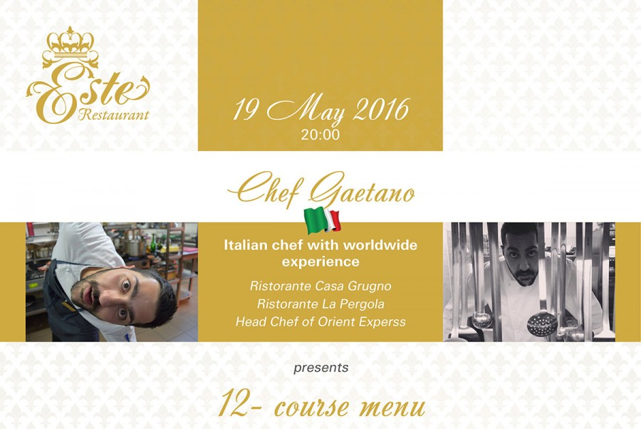 Chef Gaetano presents 12-course menu on May 19